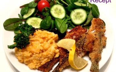 Recept Mandelpanerad fisk med blomkålsmos MUMS